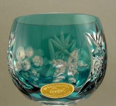 4-Karpf-Glaeser-24-Bleikristall-handgeschliffen-Uberfangglas-auf-Tablett