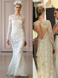 Long Sleeves Full Lace Wedding Dresses 2016 Oscar De La Renta Bridals Mermaid Ruffle Back Wedding Gowns with Pearls And Crystals Online with $303.67/Piece on Gonewithwind's Store | DHgate.com