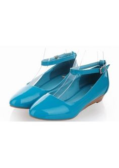 Cute Blue with Buckle Flat Heel Cusp Shoes
