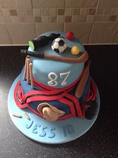 Sporty themed birthday cake