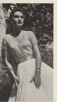 Sweet Soft • 1950s Crochet Ladies Cardigan Sweater • 50s Wedding Bridal Engagement Vintage Pattern • Retro Women's Crocheting Digital PDF