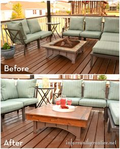 10 Outdoor Furniture Makeovers to get you Ready for Summer - Love the firepit coffee table cover!