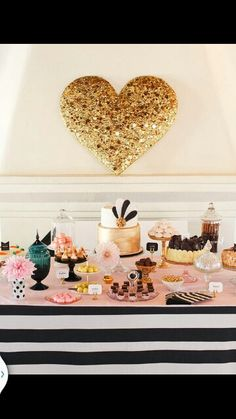 Pink,gold peach, candy buffet
