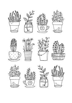 plants doodles flowers \ plants doodle _ plants doodles bullet journal _ plants doodle art journals _ plants doodle step by step _ plants doodle art _ plants doodles flowers _ plants doodle simple Doodle Drawings, Easy Drawings, Doodle Illustrations, Simple Cute Drawings, Easy Flower Drawings, Simple Sketches, Doodle Tattoo, Doodle Sketch, Colorful Drawings
