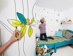 Cool idea for a kids playroom or bedroom, but you would have to make sure that they liked to color and that they had the patience to stay in the lines! I want it for my bedroom, LOL! Hours of fun :)