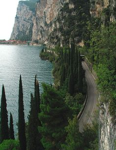 Gardesana with the village of Campione, seen from the road to Pieve / Lake Garda Trentino-Alto Adige