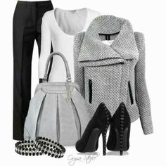 Outfit gris y negro
