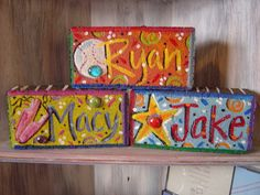 Items similar to Garden Brick - Personalized Hand Painted Name & Theme Colorful Whimsical Brick on Etsy Painted Bricks Crafts, Brick Crafts, Painted Pavers, Brick Projects, Stone Crafts, Painted Rocks, Wood Crafts, Hand Painted, Cement Pavers