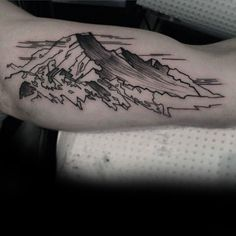 Black Ink With Shading Guys Landscape Mountain Inner Arm Tattoos