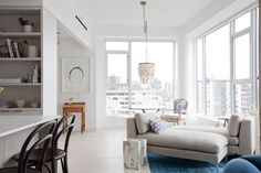 The Home Tour: A Pretty, Feminine Condo in Vancouver's West End - Western Living Magazine Living Magazine, Living Spaces, Living Rooms, Modern Glass, West End, Interior Design Services, House Tours, Dining Bench, Condo