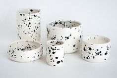 Image of ceramic dishes & soy candles - speckled black & white