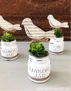 DecoArt Chalk Paint Mini Mason Jar Planters   Fun and Cute Mini Mason Jar Crafts   Creative Home Decor Ideas, Wedding Favors, Makeup Organizers & more! by DIY Ready at http://diyready.com/23-diy-crafts-with-mini-mason-jars/