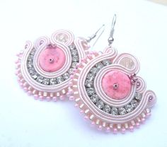 Sale -40% Subtle Soutache Earrings Zircons Beads Light Rose Soft Pink  and Braid  Glamour and Chic Gift Soutaches Earring Jewelry