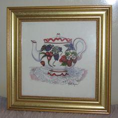 "Britt Ryan Fruit Teapot Strawberry Cherry Grapes Framed 10½"" Square Print #AR01"