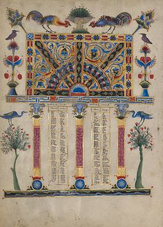 Canon Table Page  	      T'oros Roslin  Armenian, Hromklay, 1256  Tempera colors, gold paint, and ink on parchment  10 7/16 x 7 1/2 in.  MS. 59, FOL. 5V