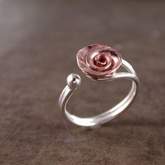 Rose ring Copper Sterling silver adjustable by BarronDesignStudio, $35.00