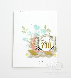This card made by Sarah Sagert is stunning. We love all of the paper layers and the lovely painted petals stamping.