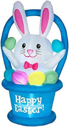 Easter Basket Lawn Inflatable Airblown Decoration 6 FT Bunny Yard Garden Stake
