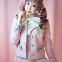 You know all of those cute makeup and cosplay videos I have shared of supercute model Kimura U? Well, KOKOkim is her own brand of fashion and accessories, and Harajuku Fashion, Kawaii Fashion, Lolita Fashion, Fashion Outfits, Japanese Street Fashion, Asian Fashion, Akiba Kei, School Uniform Fashion, Japan Outfit