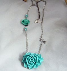 Turquoise Dragonfly Dream Rose  Vintage Style by deblane144, $23.00