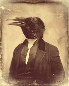 """Crow Art  This anthropomorphic Victorian photograph reminds us of the duplicity of the human spirit. Entitled """"The Patriarch"""", this Gothic inspired mixed media design is as haunting as it is chic. Available from Etsy's WatchfulCrowArts; $22"""