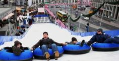 Winterwelt at Potsdamer Platz. Yes, you can even go snow tubing at a Berlin Christmas market.