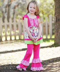 Another great find on #zulily! Fuchsia Stripe Patchwork Ruffle Tunic & Pants - Toddler & Girls #zulilyfinds