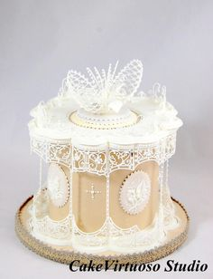 Lace Lily Of The Valley Royal icing panelled cake, curved panels and lace topper. Royal Icing Piping, Royal Icing Cakes, Cake Piping, Cupcakes, Cupcake Cakes, Royal Icing Templates, Piping Templates, My Dream Cake, Single Layer Cakes