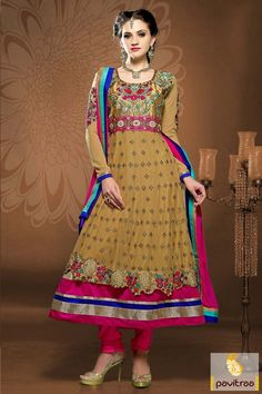 #Pink with Camel #Anarkali Bridal Salwar Suits