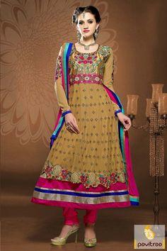 #Pink with Camel #Anarkali Bridal Salwar Suits