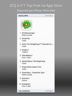 ICQ é nº1! O ICQ alcançou hoje o posto de aplicativo mais baixado da App Store Brasil!