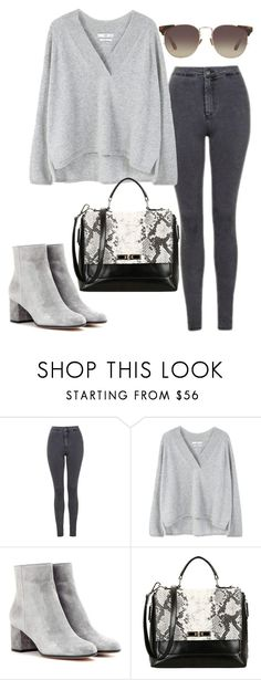 """""""Sans titre #866"""" by alexejrd ❤ liked on Polyvore featuring Topshop, MANGO, Gianvito Rossi and Linda Farrow"""