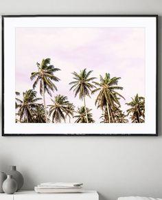 Palm Tree Print with a pink sky. A beautiful housewarming gift. Coastal Decor, Beach Art Print, Pink Blush, Nursery Decor, Office Art Print, Bedroom Art,