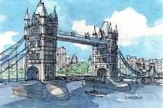 London Tower Bridge 2 - impresión de un acuarela original de arte