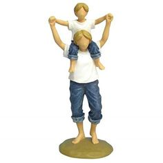 WL SSWL18436 Mother with Son on Shoulders In Blue Jeans Resin Figurine 825 *** Visit the image link more details.