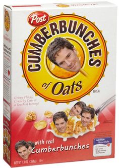 """""""Cumberbunches of Oats"""" -- Nutrition Benedicts: Heart Healthy, Life Ruiner, Ginger Infused, Cheekbones. (Benedict Cumberbatch, we love you) Sherlock Fandom, Sherlock Bbc, Can't Stop Laughing, It Goes On, Johnlock, Martin Freeman, Geek Out, Benedict Cumberbatch, Superwholock"""