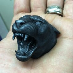 Pissed off panther sculpture ready for high shine by Wax Carving, Stone Carving, Animal Masks, Animal Heads, Animal Jewelry, Jewelry Art, Cat Anatomy, 5 Elements, Sculpture Clay