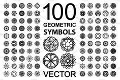 100 Geometric Symbols by dacascas on @creativemarket