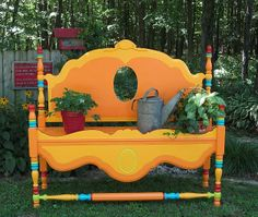s 15 whimsical ways to use old furniture in your flower bed, gardening, painted furniture, repurposing upcycling, Turn a headboard into a colorful garden bench Old Furniture, Furniture Makeover, Painted Furniture, Unwanted Furniture, Fairy Furniture, Upcycled Furniture, Furniture Plans, Headboard Makeover, Handmade Furniture