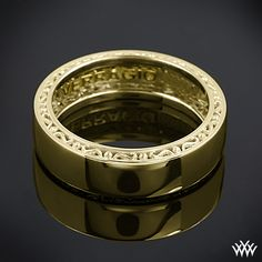 Yellow Gold Verragio High Polish Wedding Ring. This Men's Verragio Wedding Ring features a compelling design that will highlight your guys individuality without overpowering it.