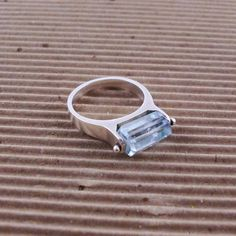 Aquamarine and Sterling Kinetic Ring  from StudioMetalWorks on etsy