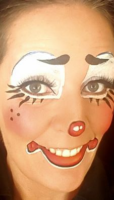 Face Painting Paradise In Utah Cute Clown Makeup Athena Stovall Cute Clown Makeup, Circus Makeup, Adult Face Painting, Body Painting, Maquillaje Halloween, Halloween Makeup, Clown Face Paint, Creepy Circus, Female Clown