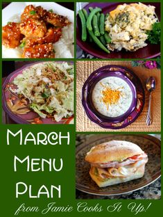 March Menu Plan from Jamie Cooks It Up!