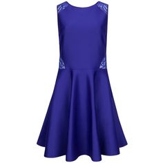 Ted Baker Venma Lace Detail Skater Dress, Blue ($250) ❤ liked on Polyvore featuring dresses, midi dress, ted baker dresses, skater dress, blue midi dress and sleeveless maxi dress