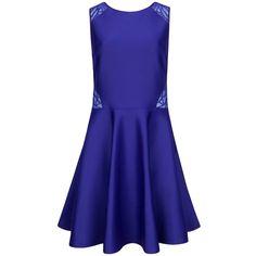 Ted Baker Venma Lace Detail Skater Dress , Blue ($245) ❤ liked on Polyvore featuring dresses, blue, blue mini dress, midi dress, sleeveless maxi dress, fit and flare midi dress and blue skater dress