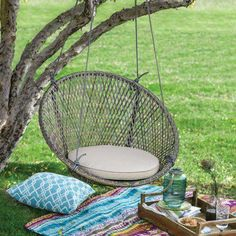 Island Bay Saria Resin Wicker Single Swing Chair with Seat Pad - Poolside or in your backyard, the Island Bay Saria Resin Wicker Single Swing Chair with Seat Pad is sure to add coastal charm to your outdoor living. Hanging Swing Chair, Hammock Swing Chair, Swing Seat, Swinging Chair, Swing Chairs, Hanging Chairs, High Chairs, Garden Chairs, Room Swing