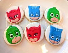 Birthday Dinner Menu, 3rd Birthday Parties, 4th Birthday, Pj Masks Birthday Cake, Birthday Cookies, Royal Icing Cookies, Cupcake Cookies, Torta Pj Mask, Pj Max