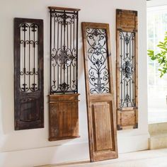 Vintage Gate Artwork: Our Vintage Gates artwork is crafted from generously distressed wood and metal. The rustic wooden frames and inset finials resemble found artifacts that are sure to complement most any decor. Design Toscano, Door Design, House Design, Design Design, Gate Design, Wrought Iron Decor, Rod Iron Decor, Wrought Iron Gates, Tuscan Decorating