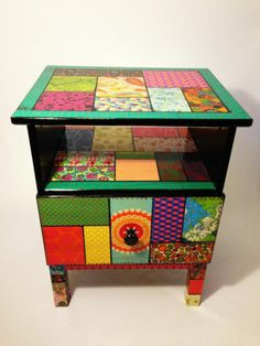 Colorful Patchwork style bedsite table | eBay - how I want to declotage my furniture
