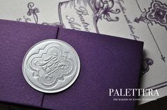 Teaser: Palettera's contemporary interpretation of a wax seal... no cracking, sits flat, sleek. Rest of invitation to be revealed post-wedding